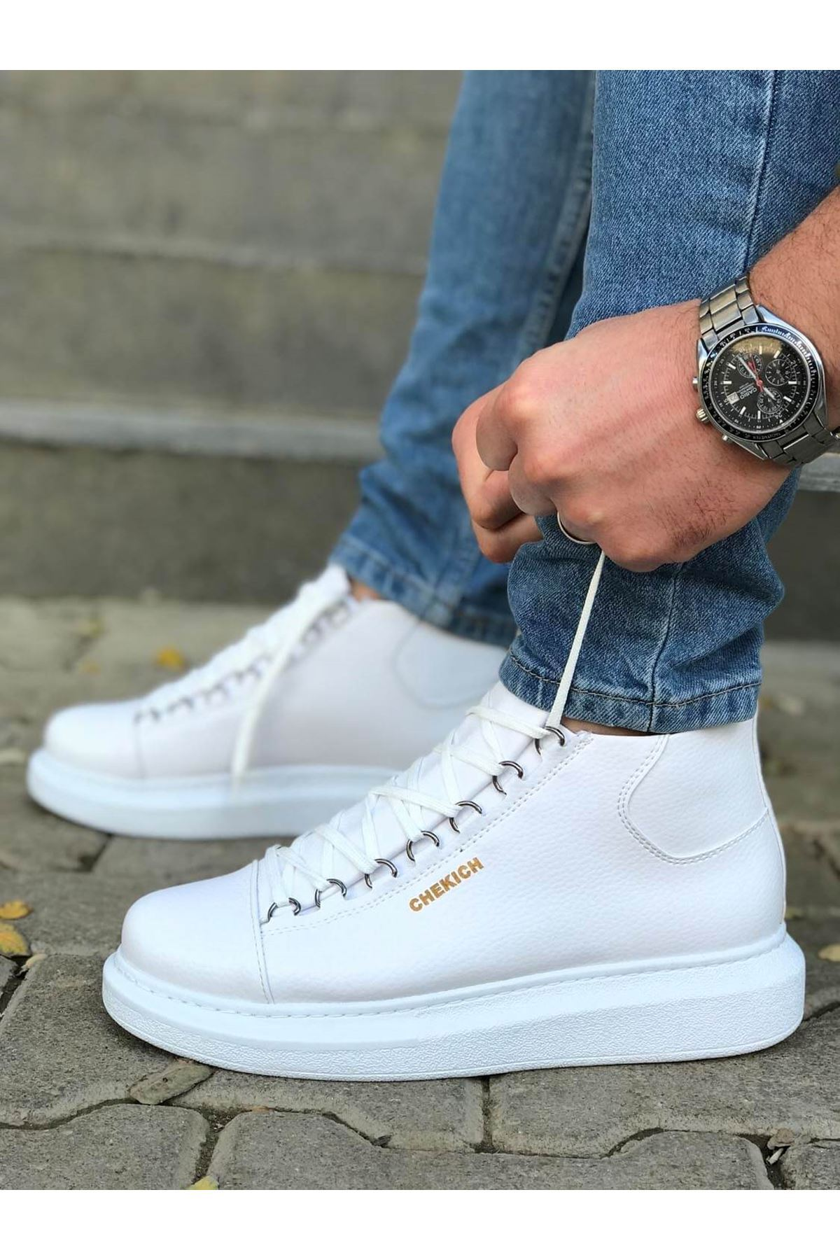 Chekich Lace-up All White Shoes for Men ch258